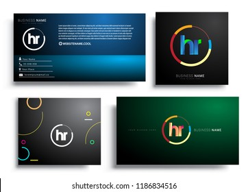 Letter HR logotype with colorful circle, letter combination logo design with ring, sets of business card for company identity, creative industry, web, isolated on white background.