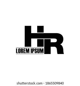 Letter HR simple logo design vector