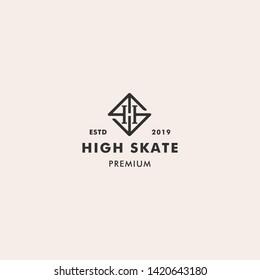 Letter HS High Skate Retro Logo Template