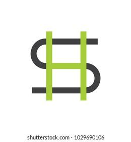 letter hs linked lines logo vector