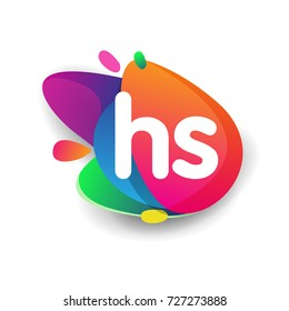 Letter HS logo with colorful splash background, letter combination logo design for creative industry, web, business and company.