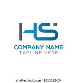 letter HS Logo Design Linked Vector Template With Blue And Grey. Initial HS Vector Illustration