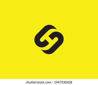 letter hs and sh logo design vector template