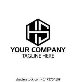 Letter HS stock logo, HS initial., flat design. HS monogram