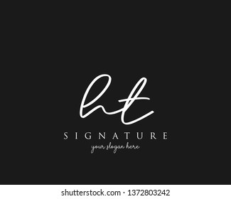 Letter HT Signature Logo Template - Vector