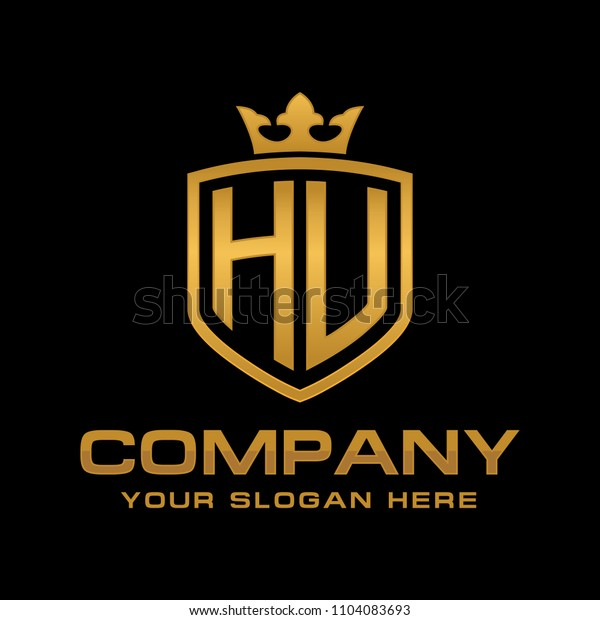 Letter HU initial with shield and crown, Luxury logo design vector