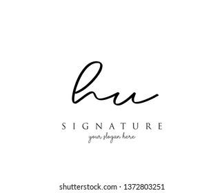 Letter HU Signature Logo Template - Vector
