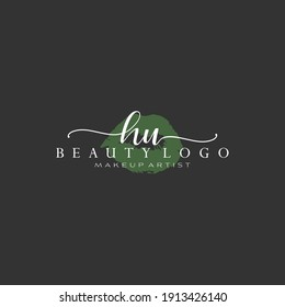 Letter HU Watercolor Lips Premade Logo Design, Logo for Makeup Artist Business Branding, Blush Beauty Boutique Logo Design, Calligraphy Logo