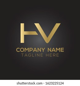 letter HV Logo Design Vector Template. Initial Linked Letter Design HV Vector Illustration