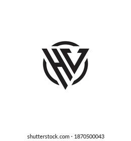 Letter HV triangle monogram cool modern simple logo concept