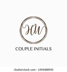 Letter HW logo template. Creative fashion logo design, couple letter , beauty icon. Initial handwriting or handwritten logo for identity. Logo with hand drawn style. wedding concept -vector