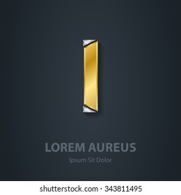 Letter I. Template for company logo. 3d Design element or icon. Vector elegant gold and silver font.
