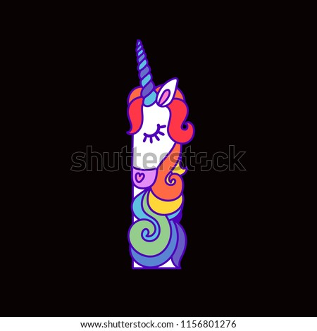 e49b0b84ab Letter I Unicorn Written By Unicorns Stock Vector (Royalty Free ...