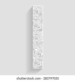 Letter I. Vector Floral Invitation cards Decorative Font