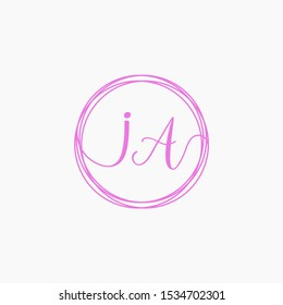 Letter IA logo template. Creative fashion logo design, couple letter , beauty icon. Initial handwriting or handwritten logo for identity. Logo with hand drawn style. wedding concept -vector