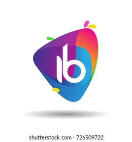 Letter IB logo with colorful splash background, letter combination logo design for creative industry, web, business and company.