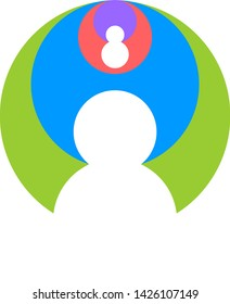 A letter icon design template elements with ellipsis intersection logo. Circle 4 colors green and blue, red, violet