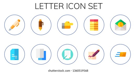 letter icon set. 10 flat letter icons.  Simple modern icons about  - fountain pen, doc, pen, copy, decree, writing, note, signature, mail, express mail