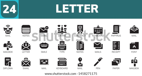 Letter Icon Set 24 Filled Letter Stock Vector Royalty Free