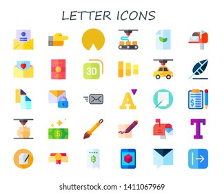 letter icon set. 30 flat letter icons.  Collection Of - decree, wireless internet, d, paper, mailed, postcard, fade buttons, write, copy, mail, email, font, writing, contract