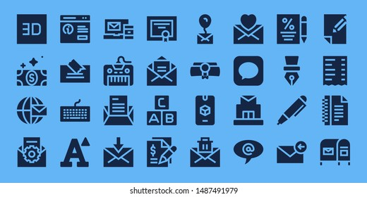 letter icon set. 32 filled letter icons. on blue background style Simple modern icons about  - d, Bill, Email, Pop up, Note, Keyboard, Font, Letter, Mail, Diploma, Abc, Contract