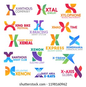 Letter icons and signs for business. Xanthous and xtal, xylophone and xing bike, bracing and xmas, xenial and express, xenomania and xenon, x-treme and x-ray with x-axis symbols vector isolated