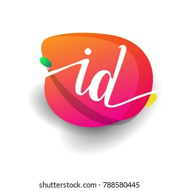 Letter ID logo with colorful splash background, letter combination logo design for creative industry, web, business and company.