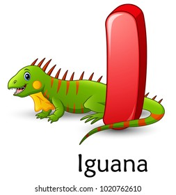 Letter I is for Iguana cartoon alphabet