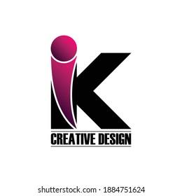 Letter IK simple logo design vector