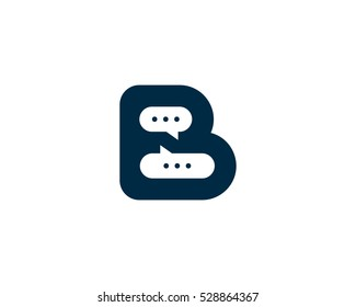 Letter Initial B Chat Logo Design Template