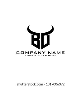 Letter Initial BD logo icon design template with bull horns.
