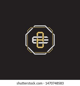 Letter initial BE B E EB monogram logo classic style with emblem hexagon line isolated on black background and gold silver colors combination