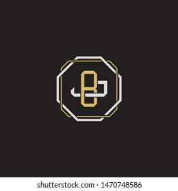 Letter initial BJ B J JB monogram logo classic style with emblem hexagon line isolated on black background and gold silver colors combination