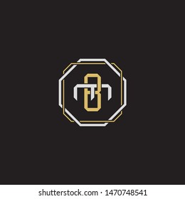 Letter initial BM B M MB monogram logo classic style with emblem hexagon line isolated on black background and gold silver colors combination