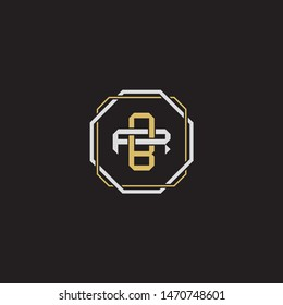Letter initial BR B R RB monogram logo classic style with emblem hexagon line isolated on black background and gold silver colors combination