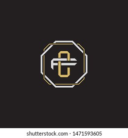 Letter initial CF C F FC monogram logo classic style with emblem hexagon line isolated on black background and gold silver colors combination