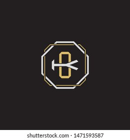 Letter initial CK C K KC monogram logo classic style with emblem hexagon line isolated on black background and gold silver colors combination