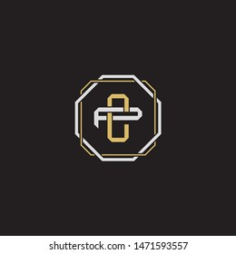 Letter initial CP C P PC monogram logo classic style with emblem hexagon line isolated on black background and gold silver colors combination