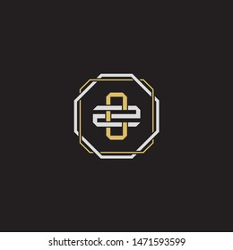 Letter initial CZ C Z ZC monogram logo classic style with emblem hexagon line isolated on black background and gold silver colors combination