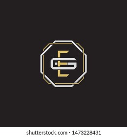 Letter initial EG E G GE  monogram logo classic style with emblem hexagon line isolated on black background and gold silver colors combination