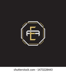 Letter initial EA E A AE monogram logo classic style with emblem hexagon line isolated on black background and gold silver colors combination