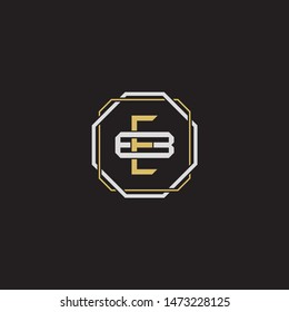 Letter initial EB E B BE monogram logo classic style with emblem hexagon line isolated on black background and gold silver colors combination