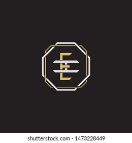 Letter initial EI E I IE monogram logo classic style with emblem hexagon line isolated on black background and gold silver colors combination