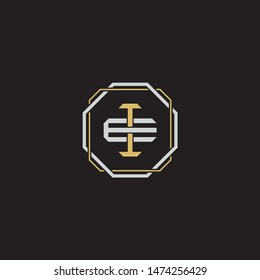 Letter initial IE EI monogram logo classic style with emblem hexagon line isolated on black background and gold silver colors combination