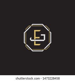 Letter initial EJ E J JE monogram logo classic style with emblem hexagon line isolated on black background and gold silver colors combination
