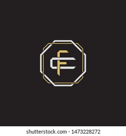 Letter initial FC F C CF monogram logo classic style with emblem hexagon line isolated on black background and gold silver colors combination