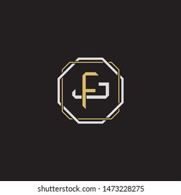 Letter initial FJ F J JF monogram logo classic style with emblem hexagon line isolated on black background and gold silver colors combination
