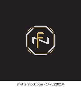 Letter initial FN F N NF monogram logo classic style with emblem hexagon line isolated on black background and gold silver colors combination
