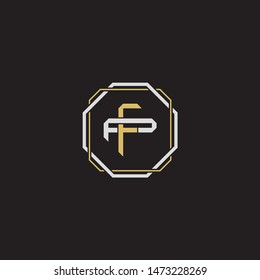 Letter initial FP F P PF monogram logo classic style with emblem hexagon line isolated on black background and gold silver colors combination