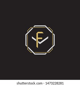 Letter initial FV F V VF monogram logo classic style with emblem hexagon line isolated on black background and gold silver colors combination
